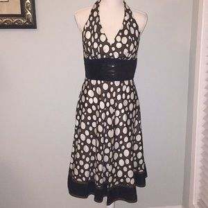 Carmen Marc Valvo Silk Sequin Bodice Halter Dress